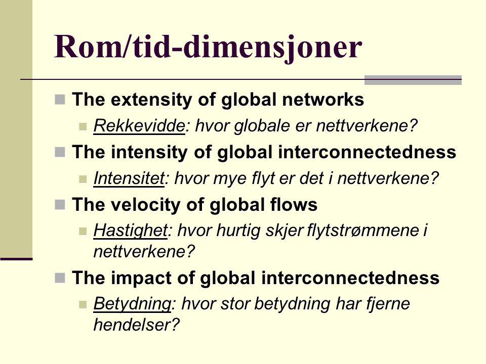 Rom/tid-dimensjoner The extensity of global networks