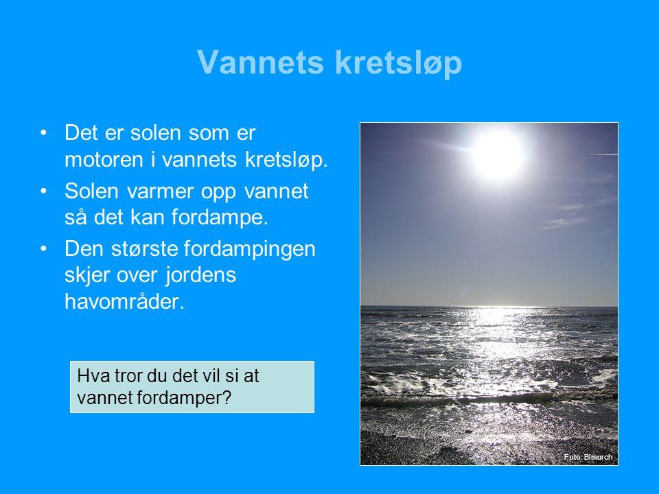 Vannets kretsløp Det er solen som er motoren i vannets kretsløp.