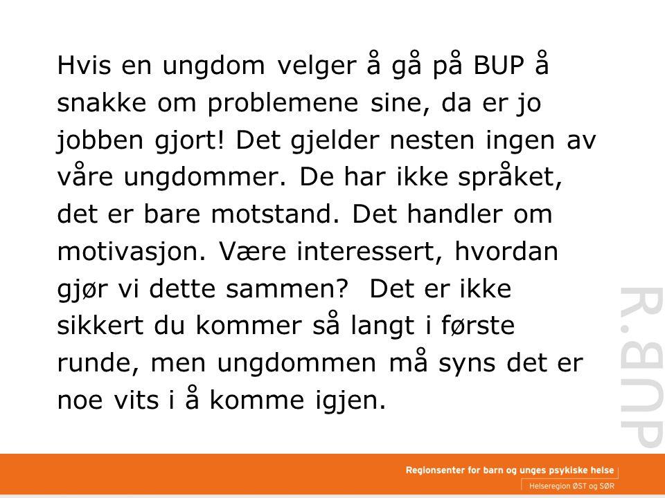 Hvis en ungdom velger å gå på BUP å snakke om problemene sine, da er jo jobben gjort.