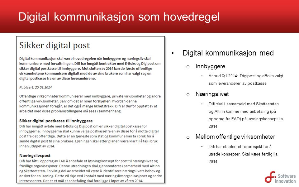 Digital kommunikasjon som hovedregel