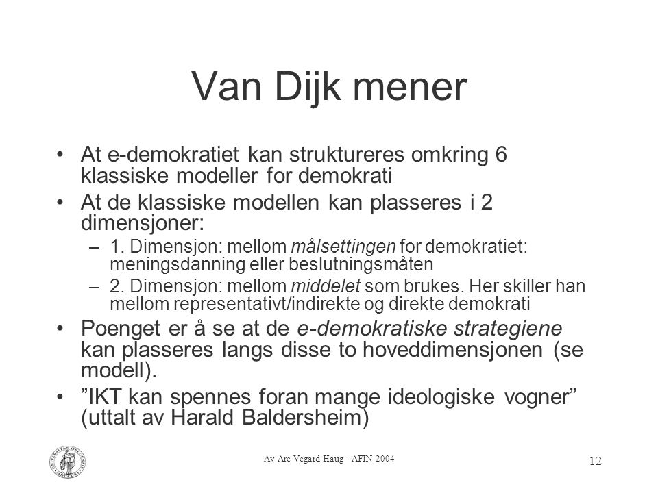 Av Are Vegard Haug – AFIN 2004