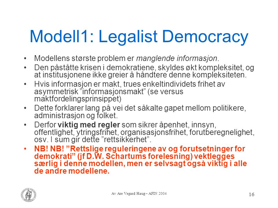Modell1: Legalist Democracy