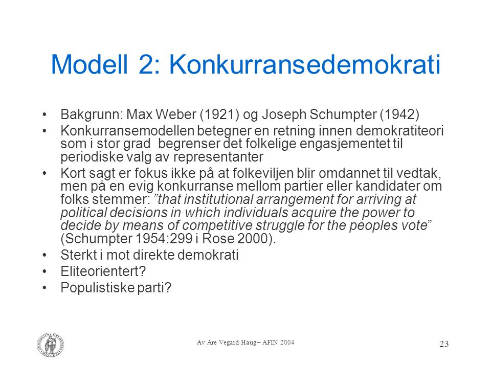 Modell 2: Konkurransedemokrati