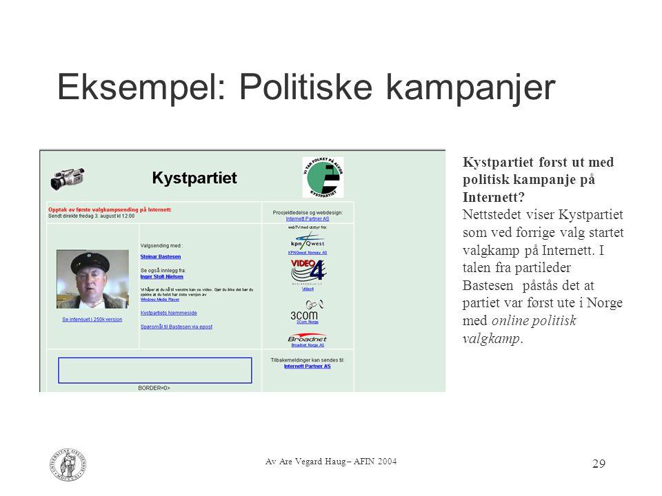 Eksempel: Politiske kampanjer
