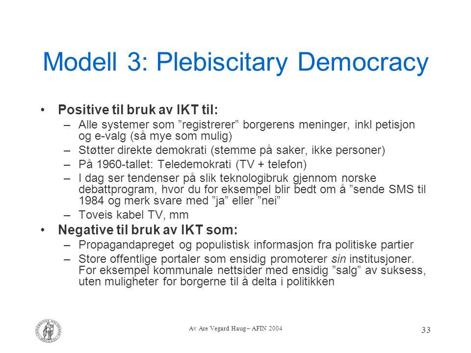 Modell 3: Plebiscitary Democracy