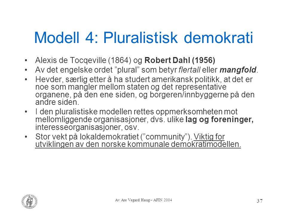 Modell 4: Pluralistisk demokrati