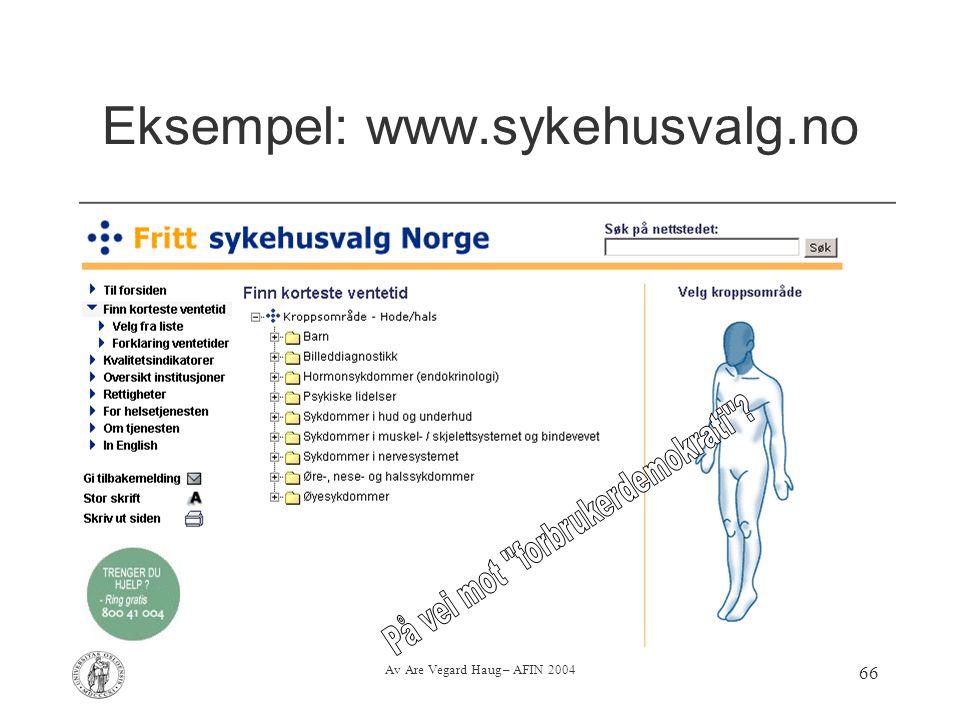 Eksempel: www.sykehusvalg.no
