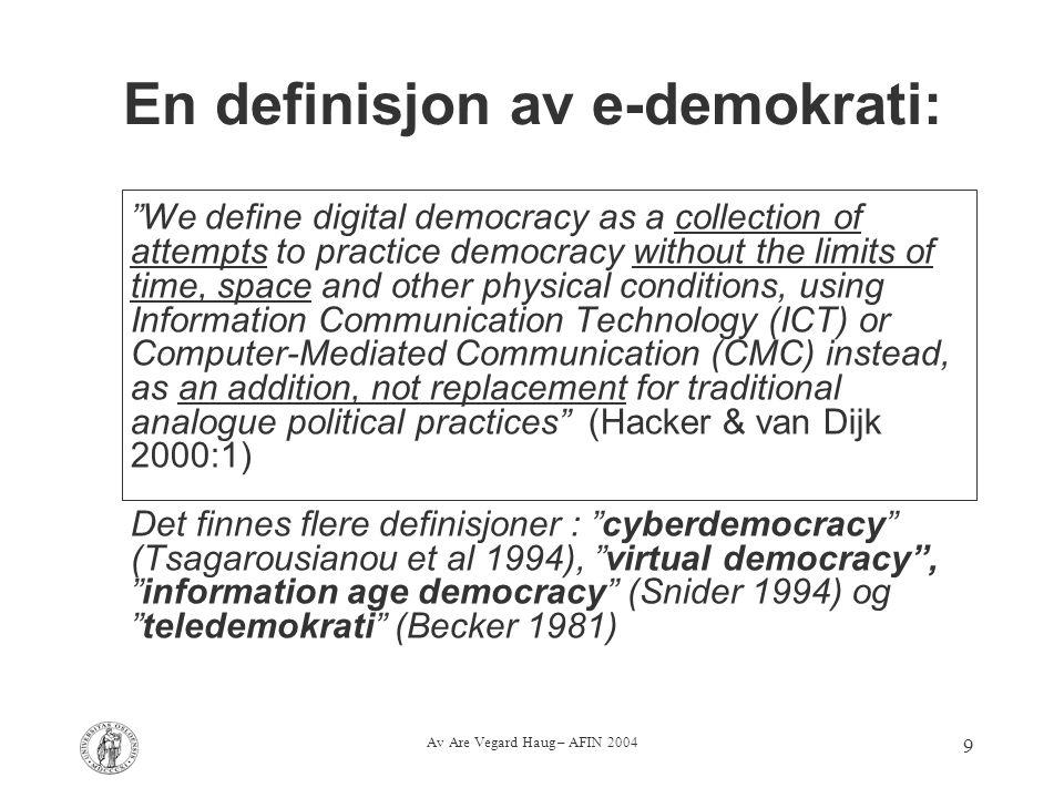En definisjon av e-demokrati: