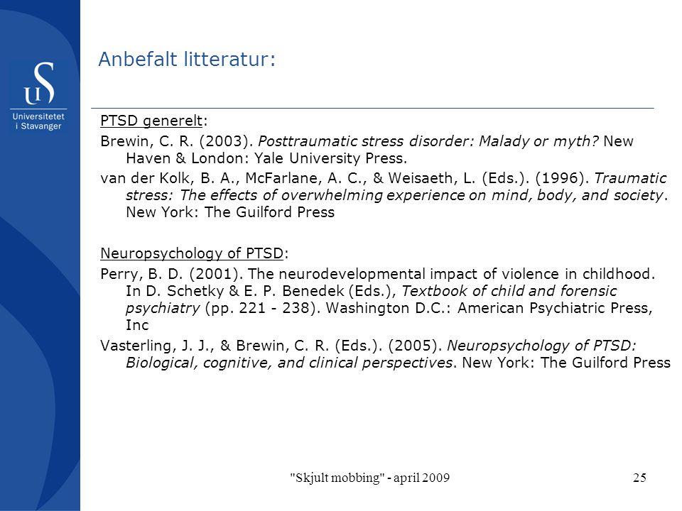 Anbefalt litteratur: PTSD generelt: