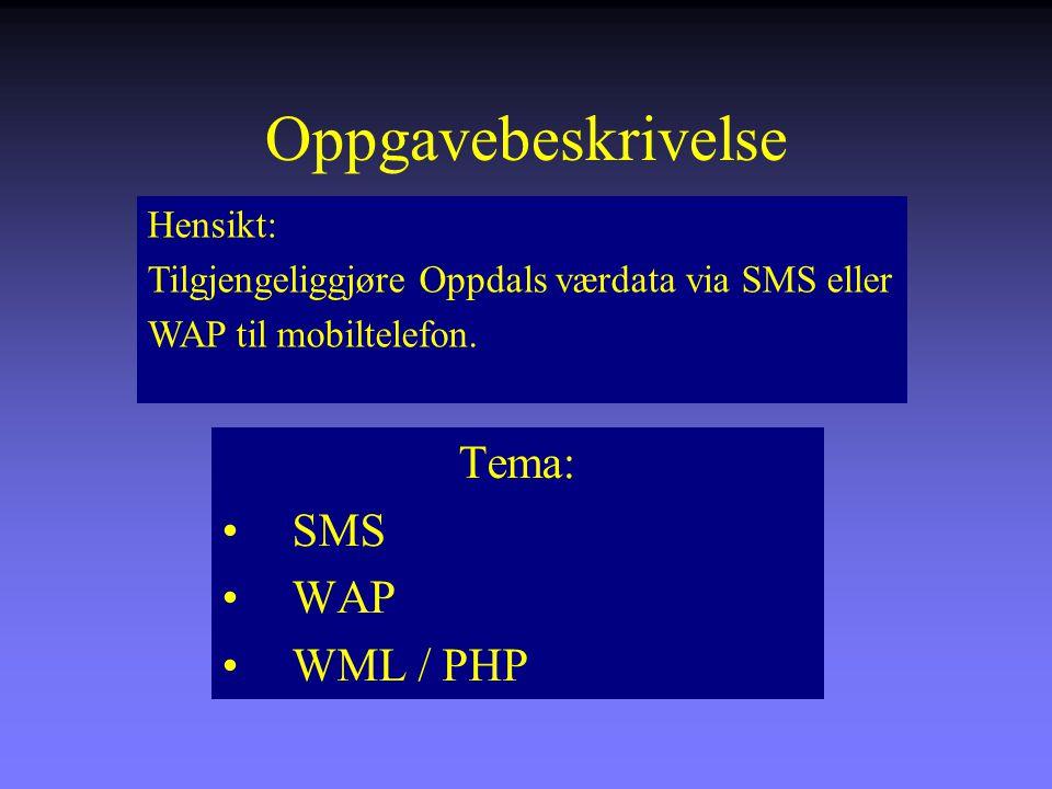 Oppgavebeskrivelse Tema: SMS WAP WML / PHP Hensikt: