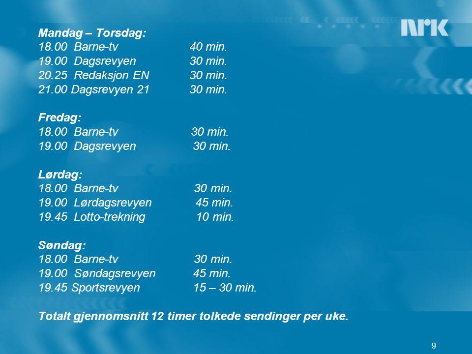 Mandag – Torsdag: 18.00 Barne-tv 40 min. 19.00 Dagsrevyen 30 min.