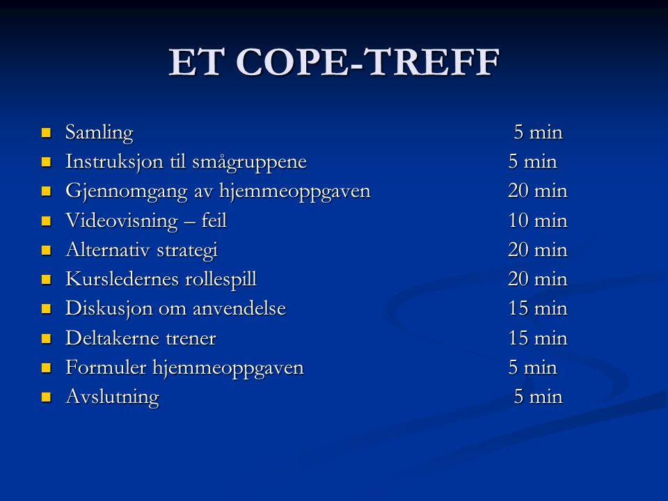 ET COPE-TREFF Samling 5 min Instruksjon til smågruppene 5 min