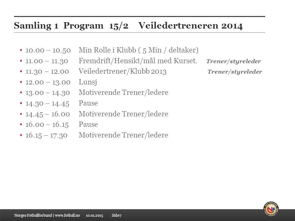Samling 1 Program 15/2 Veiledertreneren 2014