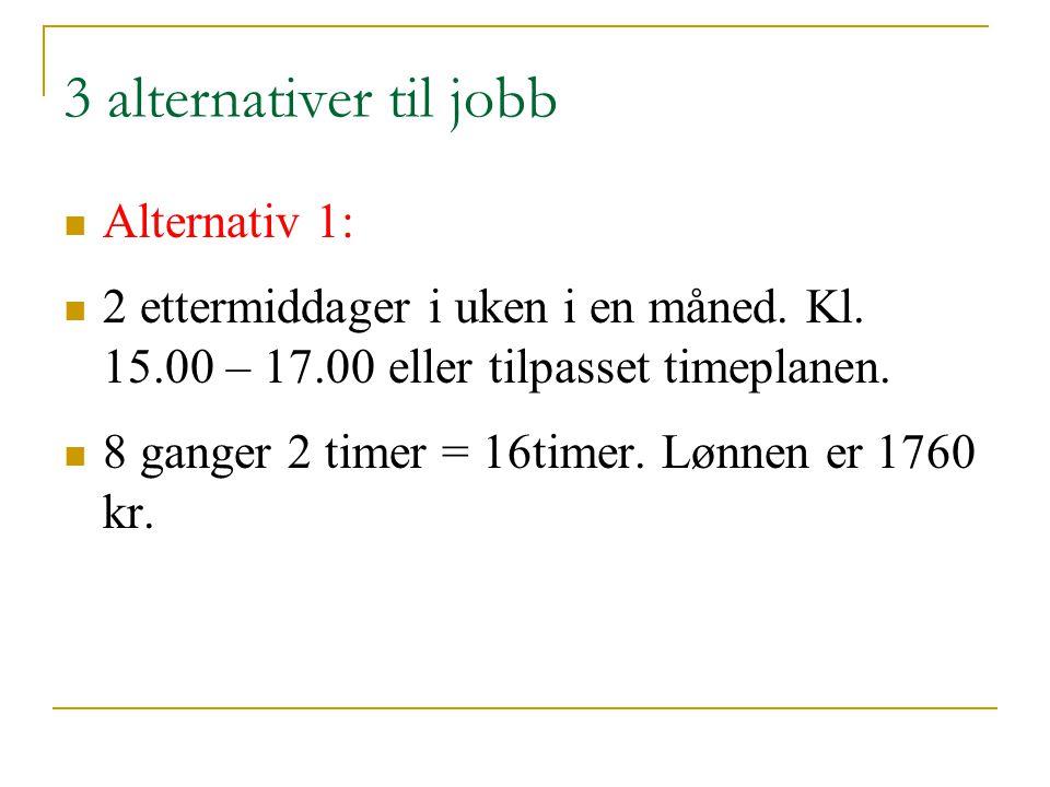 3 alternativer til jobb Alternativ 1: