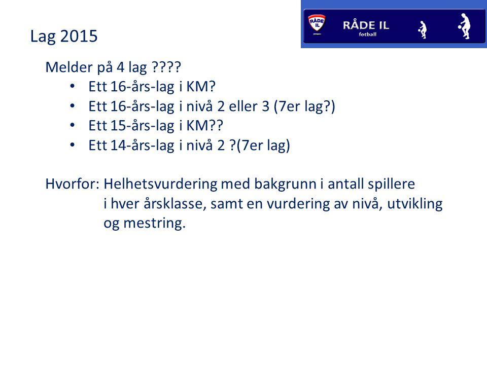 Lag 2015 Melder på 4 lag Ett 16-års-lag i KM