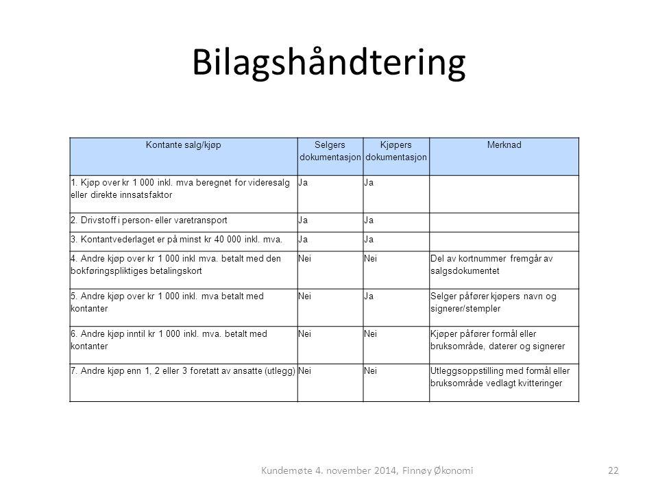 Bilagshåndtering Kundemøte 4. november 2014, Finnøy Økonomi