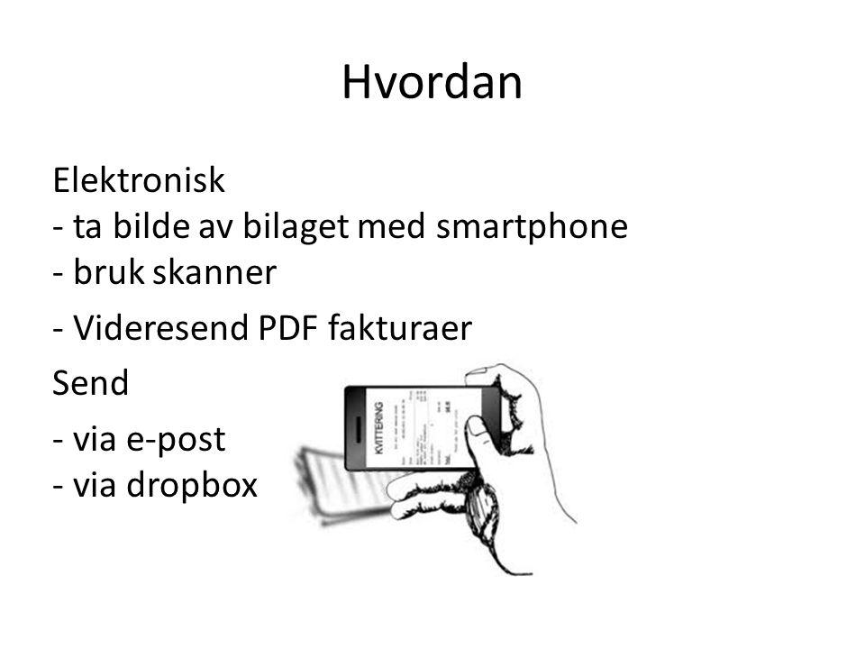 Hvordan Elektronisk - ta bilde av bilaget med smartphone - bruk skanner - Videresend PDF fakturaer Send - via e-post - via dropbox