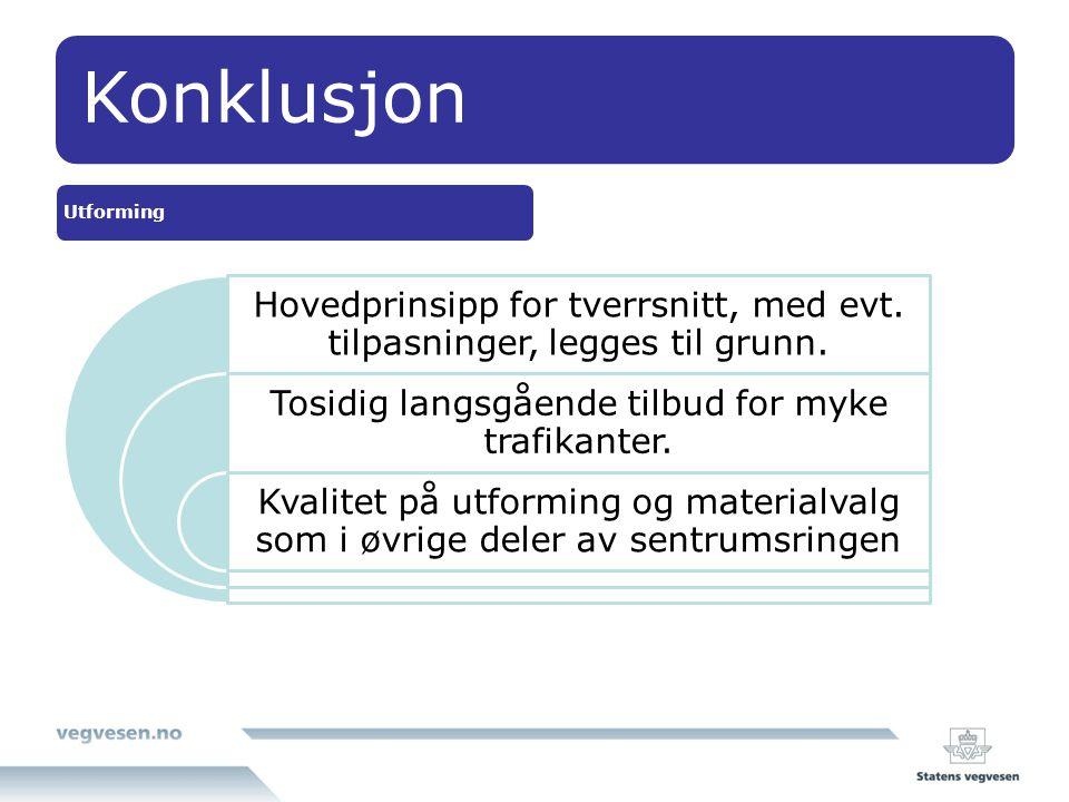 Konklusjon Utforming. Hovedprinsipp for tverrsnitt, med evt. tilpasninger, legges til grunn. Tosidig langsgående tilbud for myke trafikanter.