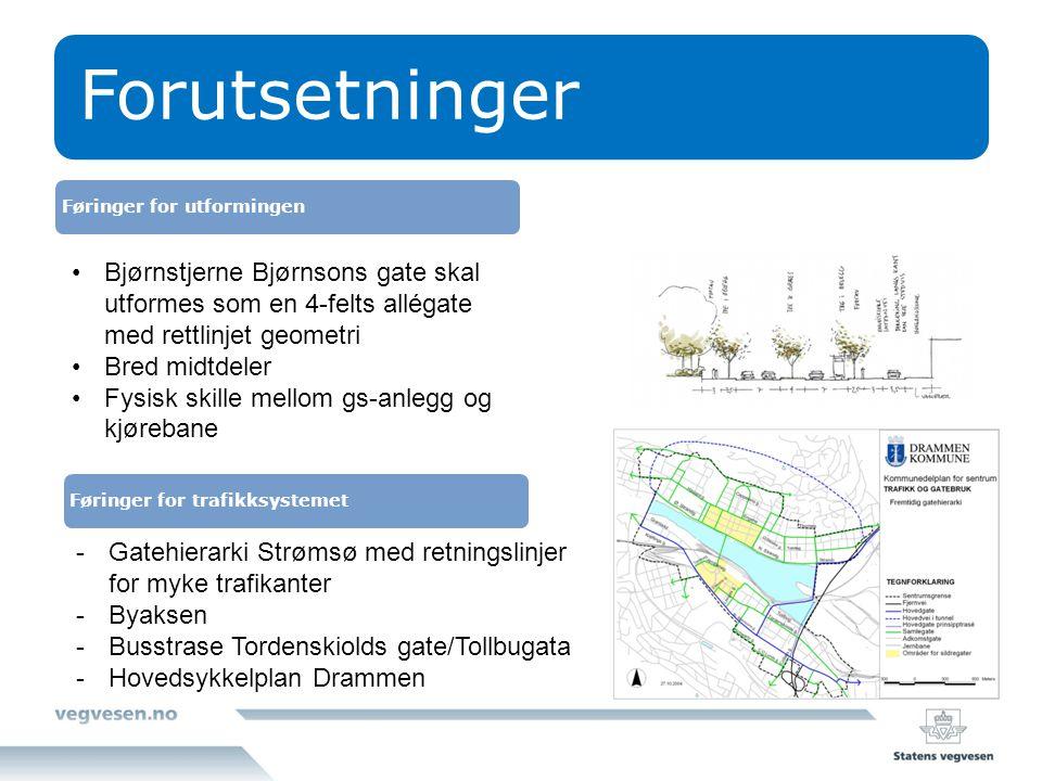 Forutsetninger Føringer for utformingen. Bjørnstjerne Bjørnsons gate skal utformes som en 4-felts allégate med rettlinjet geometri.