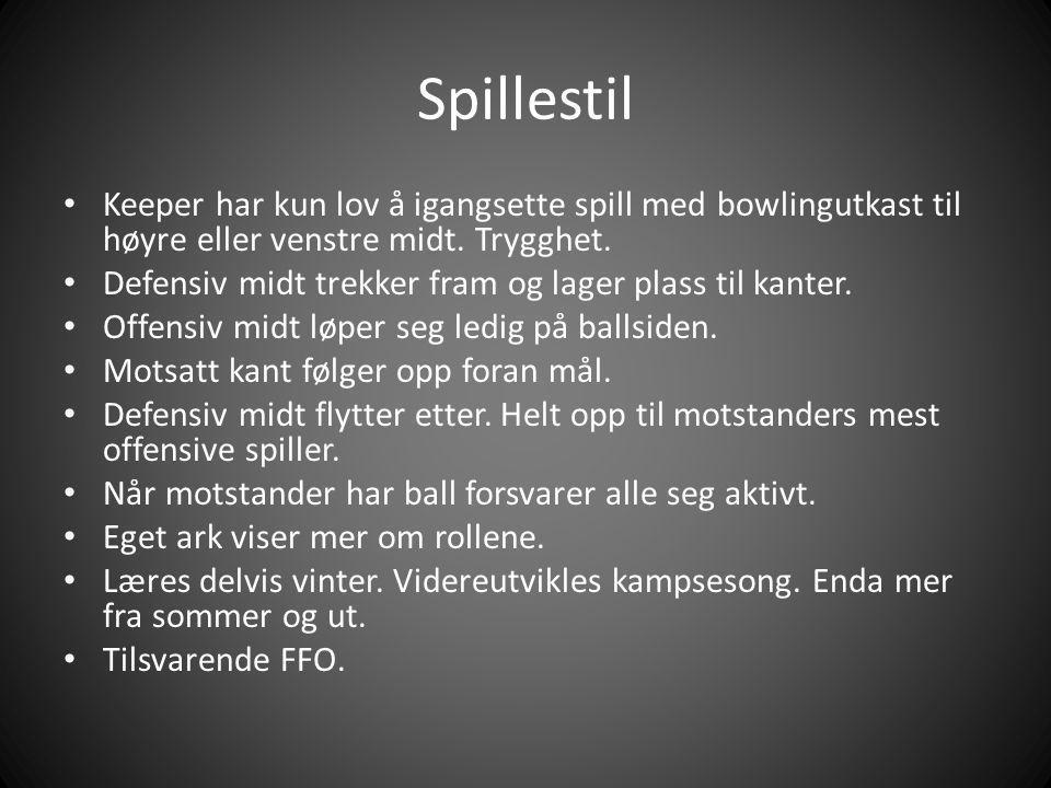 Spillestil Keeper har kun lov å igangsette spill med bowlingutkast til høyre eller venstre midt. Trygghet.