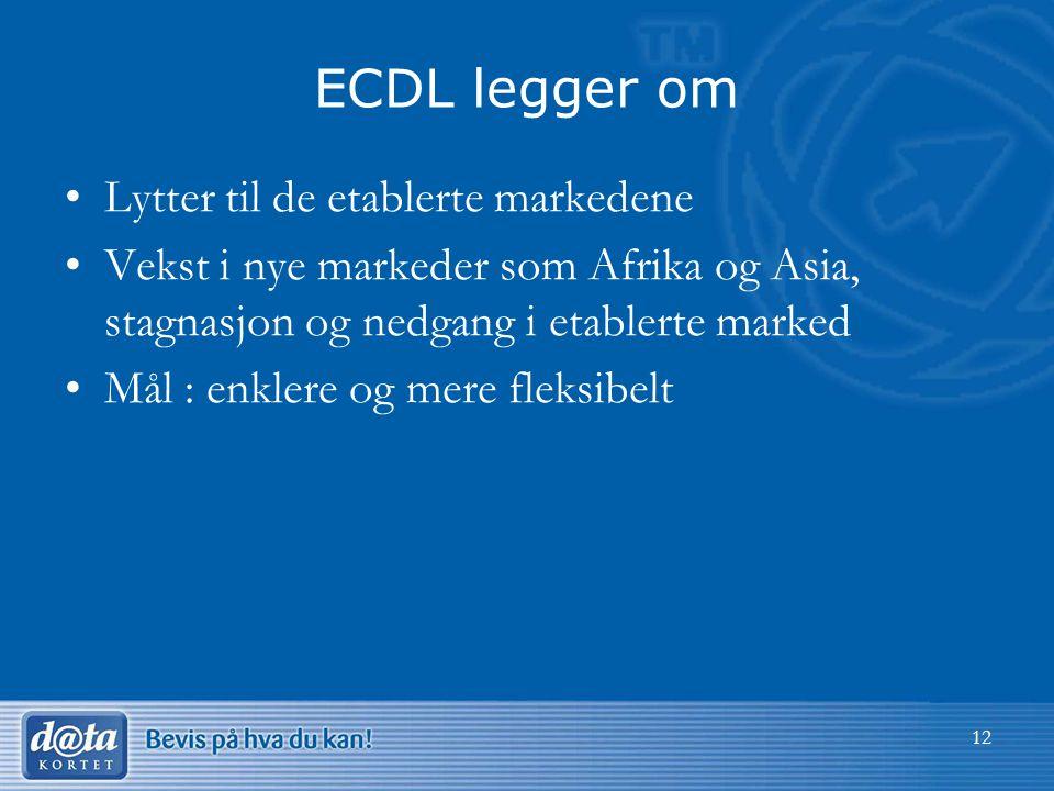 ECDL legger om Lytter til de etablerte markedene