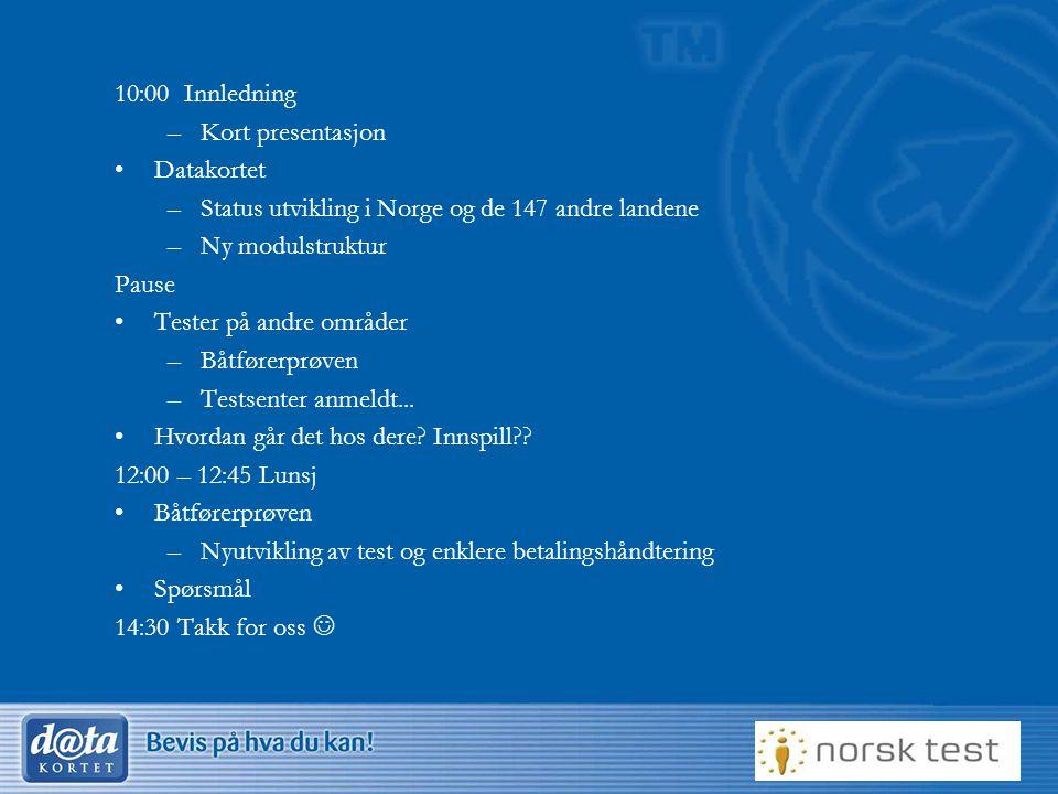 10:00 Innledning Kort presentasjon. Datakortet. Status utvikling i Norge og de 147 andre landene.