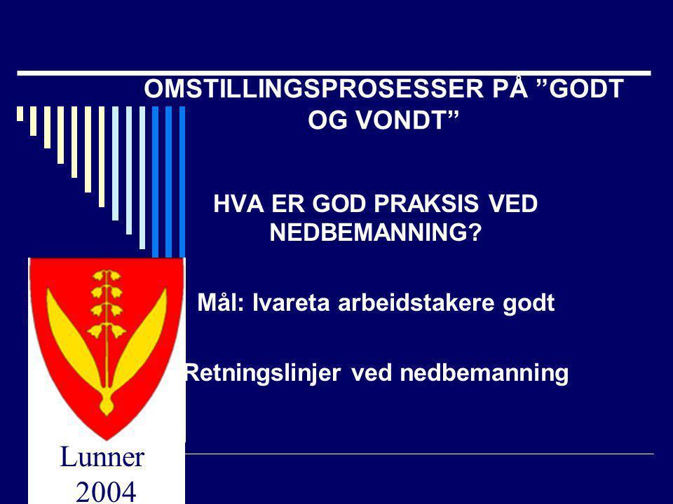 OMSTILLINGSPROSESSER PÅ GODT OG VONDT