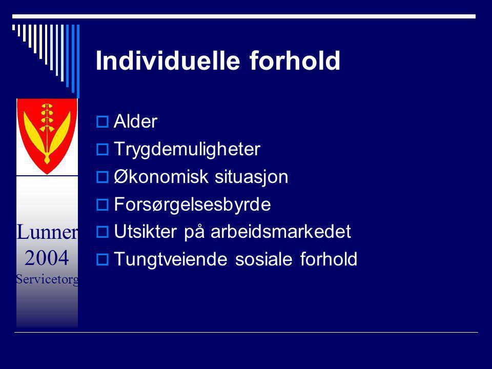 Individuelle forhold Alder Trygdemuligheter Økonomisk situasjon