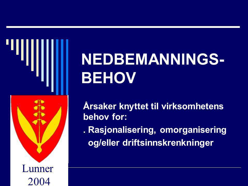 NEDBEMANNINGS-BEHOV Årsaker knyttet til virksomhetens behov for: