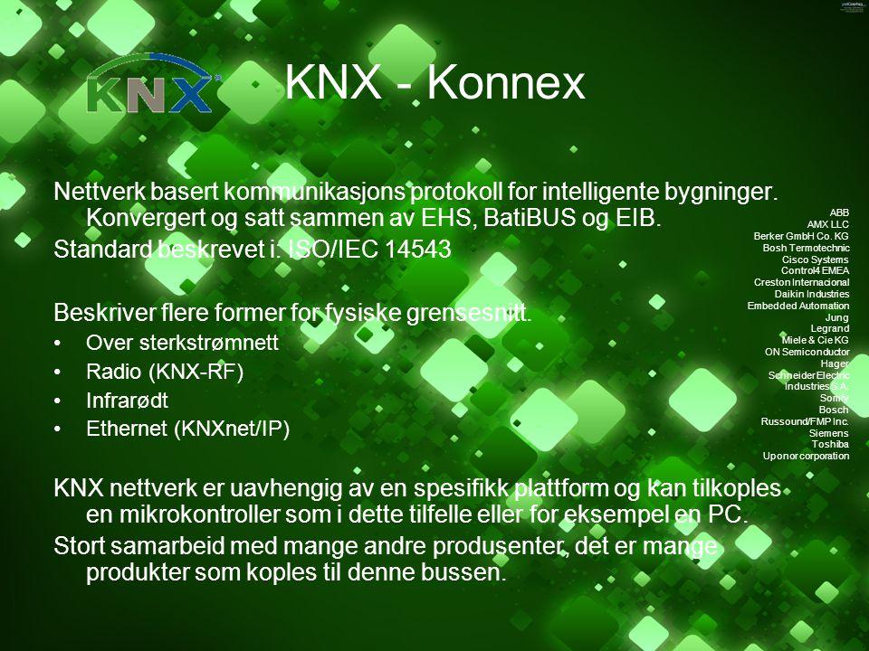 KNX - Konnex Nettverk basert kommunikasjons protokoll for intelligente bygninger. Konvergert og satt sammen av EHS, BatiBUS og EIB.