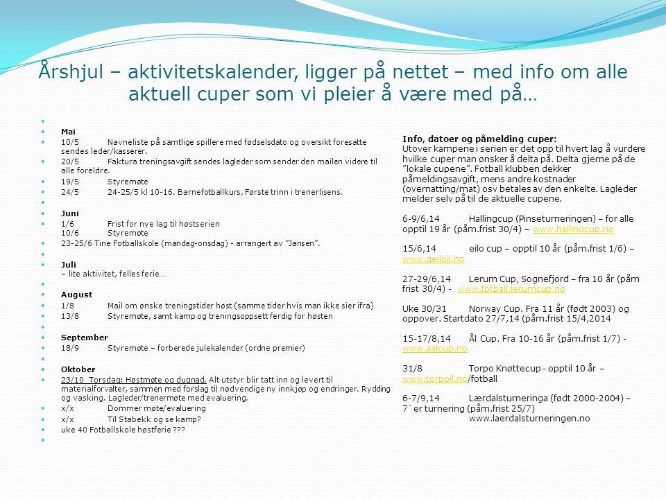 Årshjul – aktivitetskalender, ligger på nettet – med info om alle aktuell cuper som vi pleier å være med på…