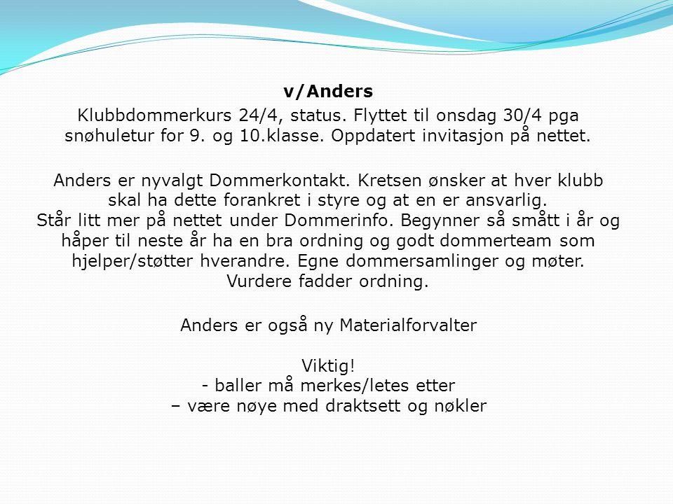 v/Anders Klubbdommerkurs 24/4, status. Flyttet til onsdag 30/4 pga snøhuletur for 9. og 10.klasse. Oppdatert invitasjon på nettet.