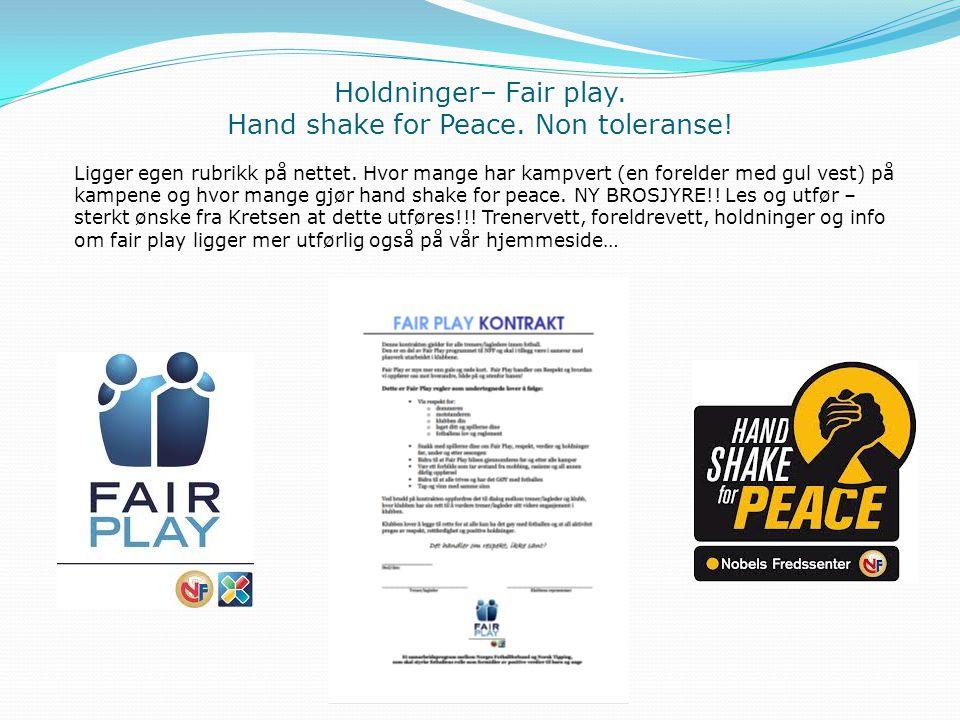 Holdninger– Fair play. Hand shake for Peace. Non toleranse!