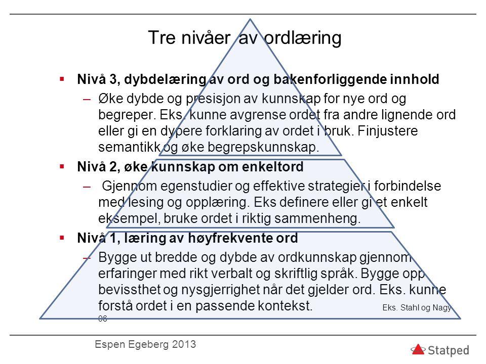 Tre nivåer av ordlæring