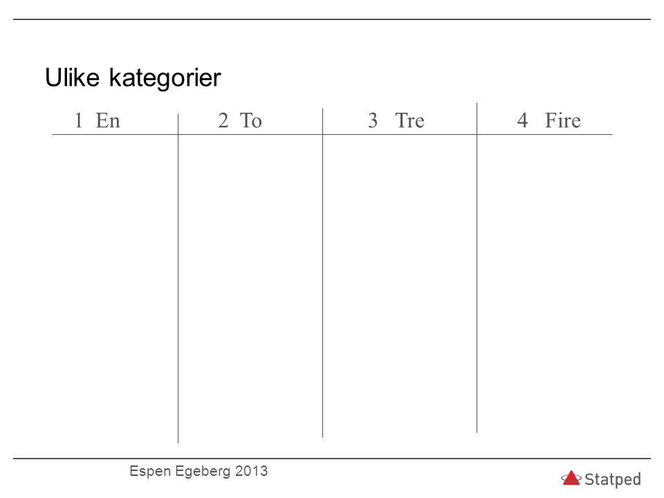 Ulike kategorier 1 En 2 To 3 Tre 4 Fire Espen Egeberg 2013