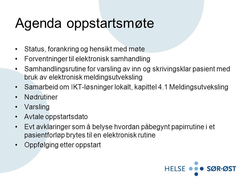 Agenda oppstartsmøte Status, forankring og hensikt med møte