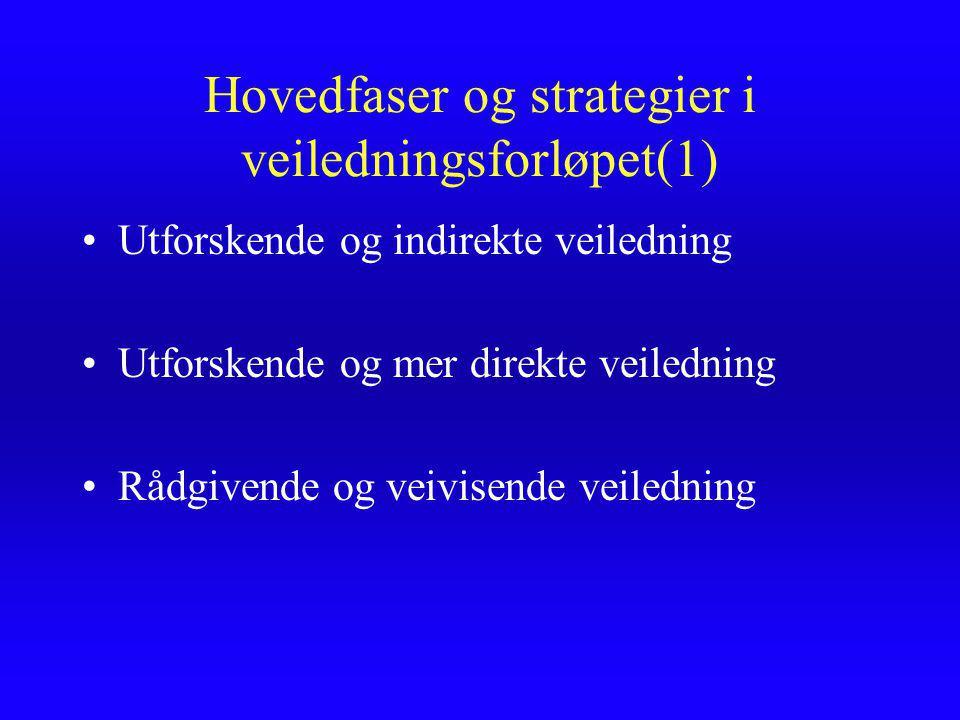 Hovedfaser og strategier i veiledningsforløpet(1)
