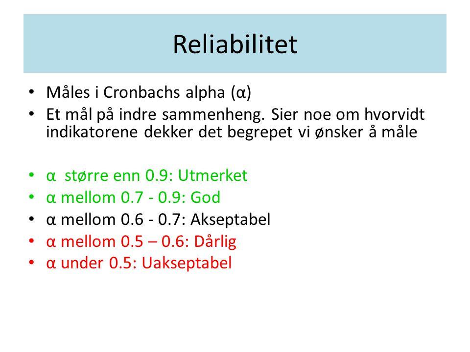 Reliabilitet Måles i Cronbachs alpha (α)