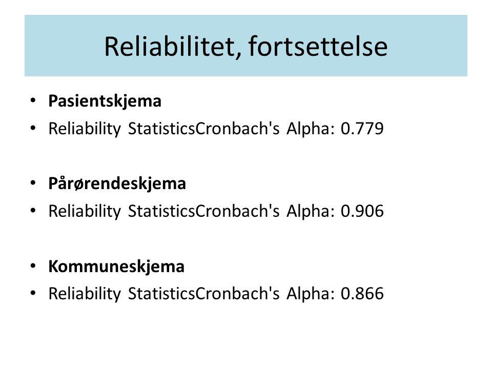 Reliabilitet, fortsettelse