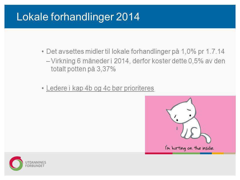 Lokale forhandlinger 2014 Det avsettes midler til lokale forhandlinger på 1,0% pr 1.7.14.