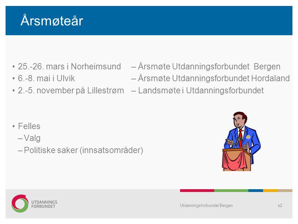 Årsmøteår 25.-26. mars i Norheimsund – Årsmøte Utdanningsforbundet Bergen. 6.-8. mai i Ulvik – Årsmøte Utdanningsforbundet Hordaland.