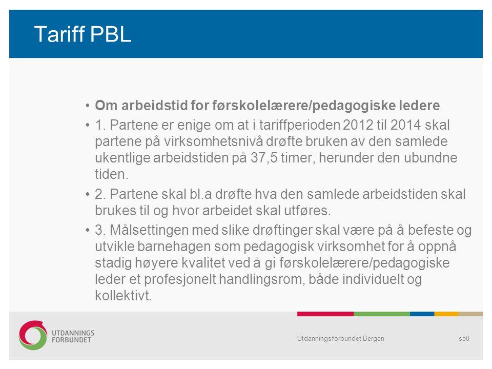 Tariff PBL Om arbeidstid for førskolelærere/pedagogiske ledere