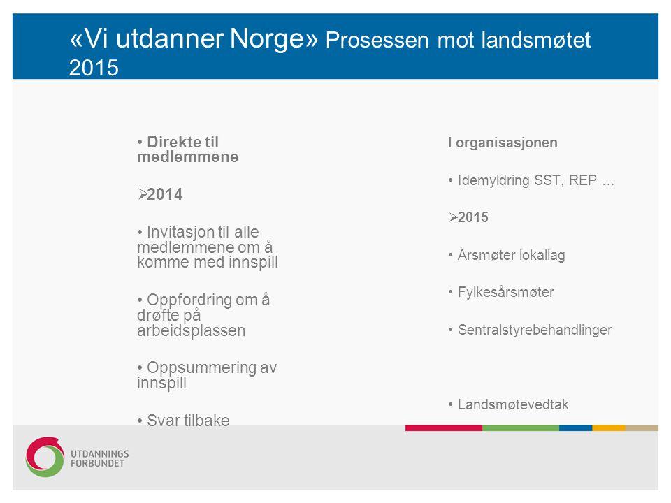 «Vi utdanner Norge» Prosessen mot landsmøtet 2015