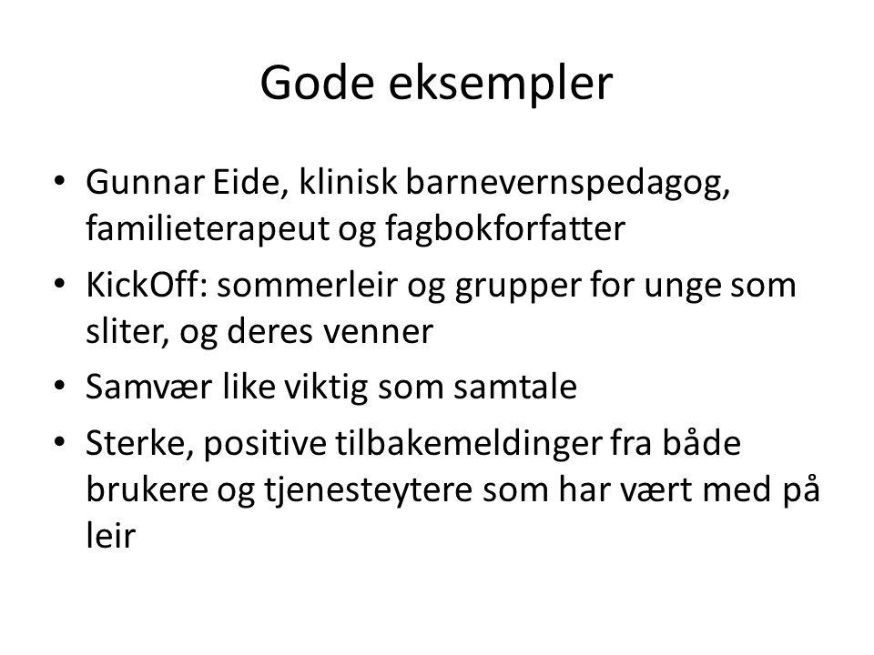 Gode eksempler Gunnar Eide, klinisk barnevernspedagog, familieterapeut og fagbokforfatter.