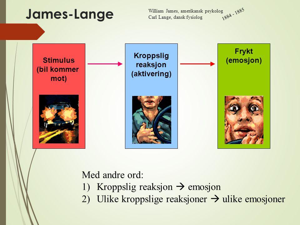 James-Lange Med andre ord: Kroppslig reaksjon  emosjon