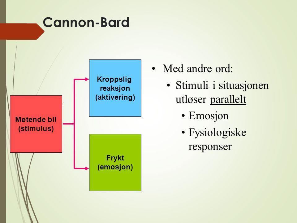 Cannon-Bard Med andre ord: Stimuli i situasjonen utløser parallelt