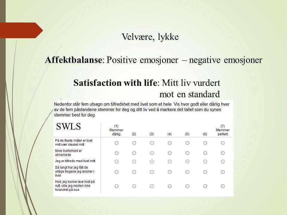 Velvære, lykke Affektbalanse: Positive emosjoner – negative emosjoner. Satisfaction with life: Mitt liv vurdert.
