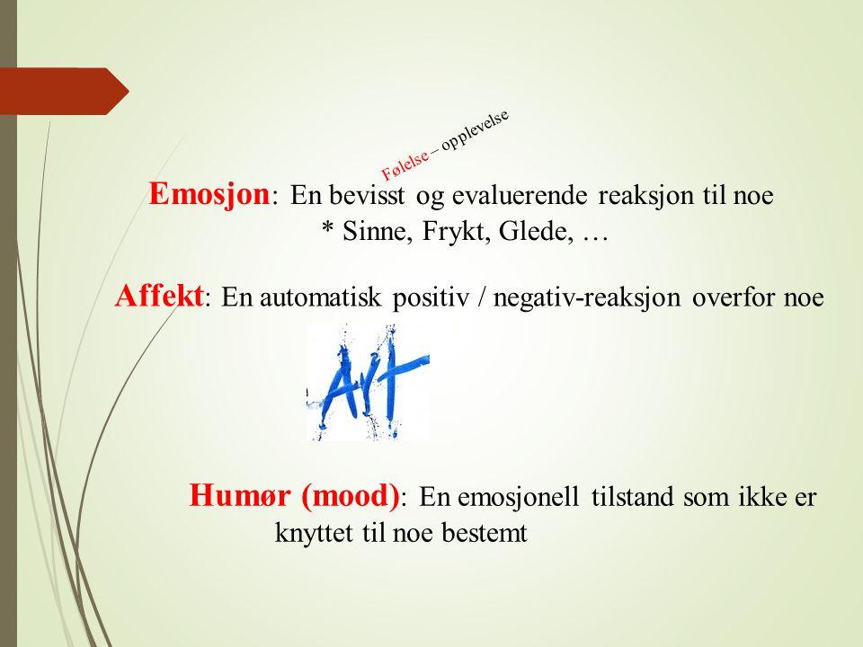 Emosjon: En bevisst og evaluerende reaksjon til noe