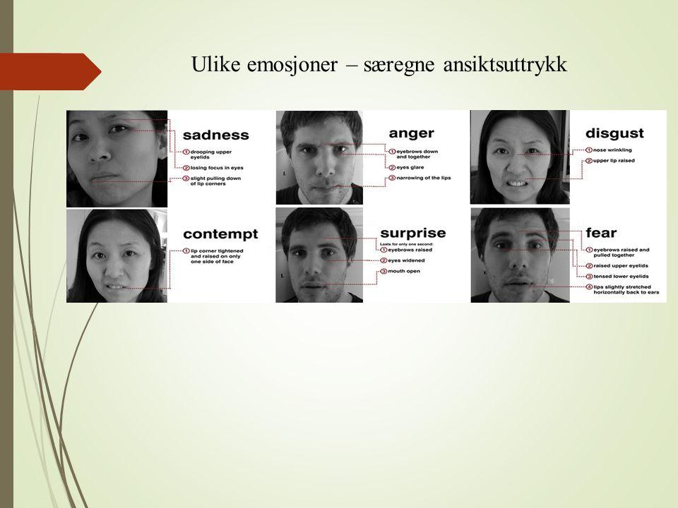 Ulike emosjoner – særegne ansiktsuttrykk