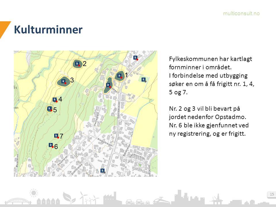 Kulturminner Fylkeskommunen har kartlagt fornminner i området.